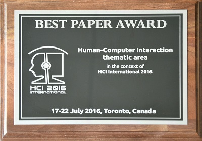 Human-Computer Interaction Best Paper Award. Details in text following the image.