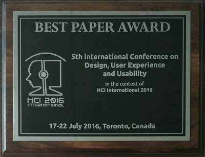 Design, User Experience and Usability Best Paper Award. Details in text following the image.