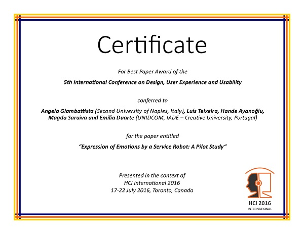 Certificate for best paper award of the 5th International Conference on Design, User Experience and Usability. Details in text following the image