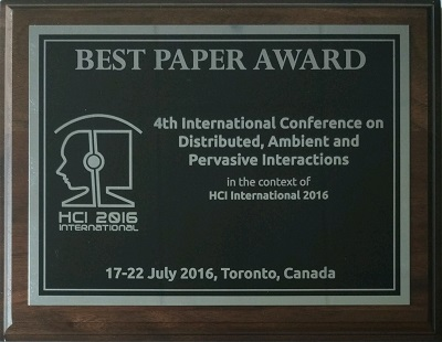 Distributed, Ambient and Pervasive Interactions Best Paper Award. Details in text following the image.
