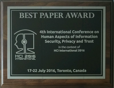Human Aspects of Information Security, Privacy and Trust Best Paper Award. Details in text following the image.