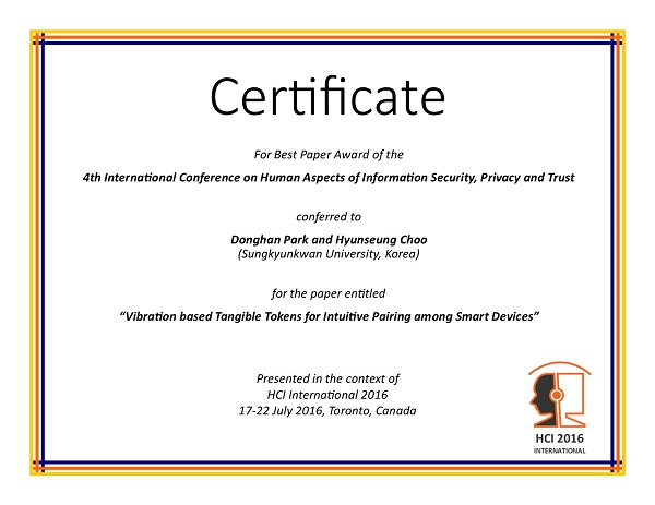 Certificate for best paper award of the 4th International Conference on Human Aspects of Information Security, Privacy and Trust. Details in text following the image