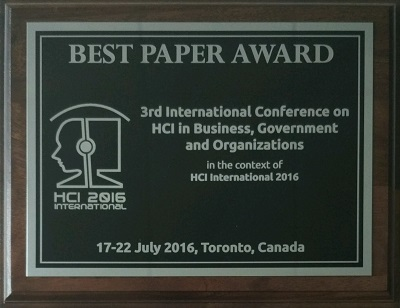 HCI in Business, Government and Organizations Best Paper Award. Details in text following the image.