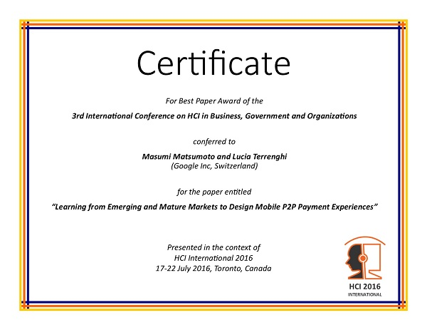 Certificate for best paper award of the 4th International Conference on HCI in Business, Government and Organizations. Details in text following the image