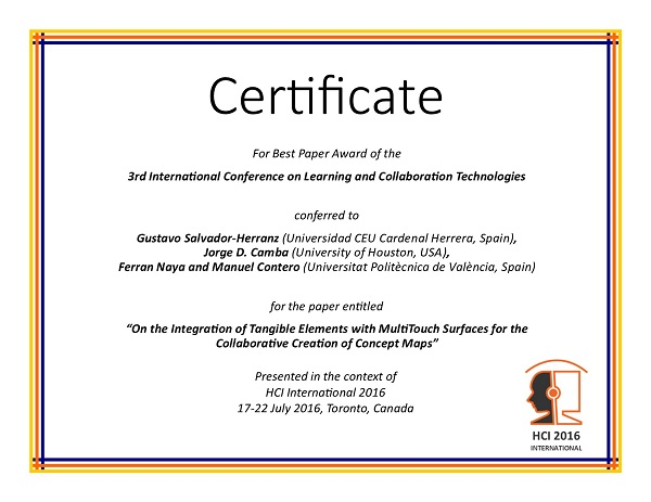 Certificate for best paper award of the 3rd International Conference on Learning and Collaboration Technologies. Details in text following the image