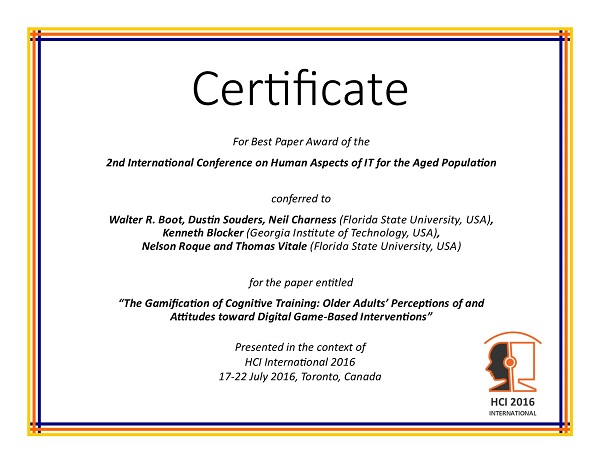 Certificate for best paper award of the 2nd International Conference on Human Aspects of IT for the Aged Population. Details in text following the image