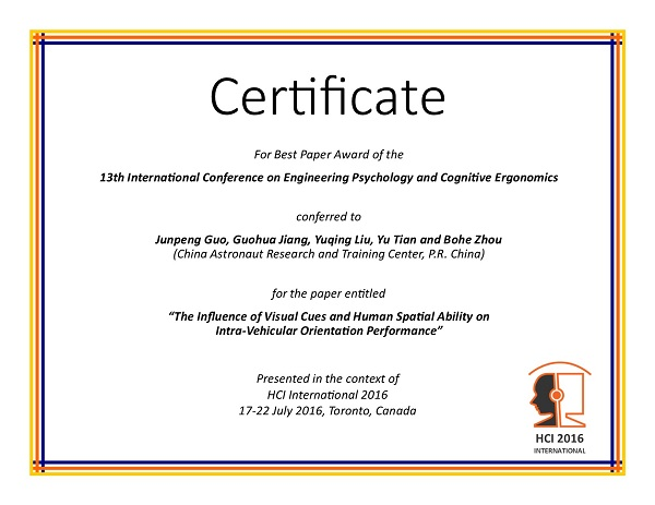 Certificate for best paper award of the 13th International Conference on Engineering Psychology and Cognitive Ergonomics. Details in text following the image