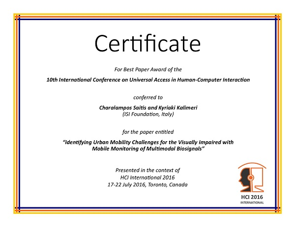Certificate for best paper award of the 10th International Conference on Universal Access in Human-Computer Interaction. Details in text following the image