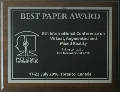 Virtual, Augmented and Mixed Reality Best Paper Award. Details in text following the image.