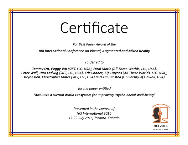Certificate for best paper award of the 8th International Conference on Virtual, Augmented and Mixed Reality. Details in text following the image