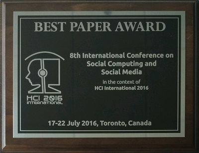 Social Computing and Social Media Best Paper Award. Details in text following the image.