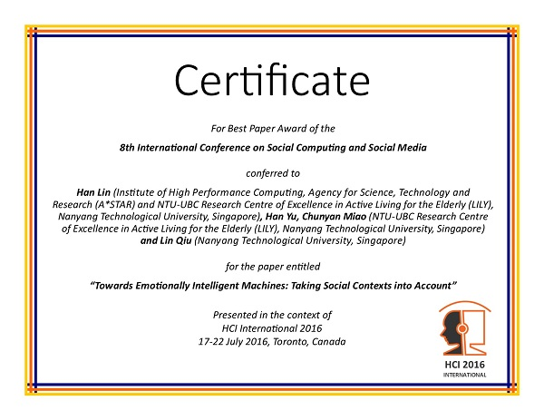 Certificate for best paper award of the 8th International Conference on Social Computing and Social Media. Details in text following the image