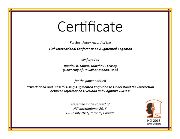 Certificate for best paper award of the 10th International Conference on Augmented Cognition. Details in text following the image