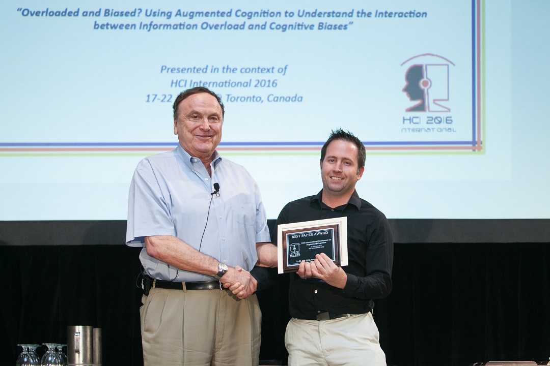 Best Paper Award for the 10th International Conference on Augmented Cognition